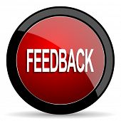 feedback red circle glossy web icon on white background, round button for internet and mobile app poster