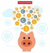 Concept of investment banking. Collect of finance. Money finance, bank and growth earnings, piggy and cash coin, financial profit, wealth and dollar, income and fund illustration poster