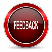 feedback red circle glossy web icon, round button with metallic border poster