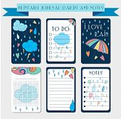 Printable  journal cards, labels, with autmun illustrations. Template for scrap booking and wrapping. Vector set of cute notes with colorful rain drops. Create your own diary design. poster