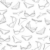Seamless lingeries pattern. Vector bras and panties design. poster