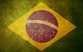 brazil flag with old texture grunge and vintage poster