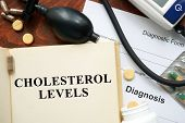 Cholesterol levels written on a book. Medical concept. poster