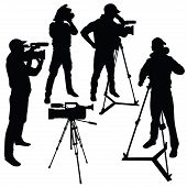 Cameraman with video camera. Silhouettes on white background. Vector illustration poster