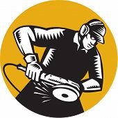Illustration of a worker wearing hat and ear muffs holding angle grinder working viewed from side set inside circle done in retro woodcut style. poster