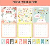 Cute Calendar Template for 2016. Beautiful Diary with Vector Character and Funny Illustrations Animals and Kids. Trendy Season Holidays Backgrounds. Good Organizer and Schedule with place for Notes poster