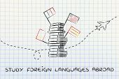 pile of books with flags and airplane flying in the background studying foreign languages abroad poster