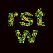 Typescript with leaves ornament. R s t w letters decorated with herbal pattern isolated. poster