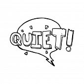 simple black and white line drawing cartoon  comic book shout for quiet poster