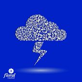 Thunder and lightning meteorology pictogram. Weather forecast floral simple marking, stylized weather conditions symbol best for use in graphic and web design. poster