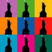 a series of silhouettes of the statue of liberty in a pop art style with details picked out in white. poster