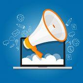 megaphone announce speaker shout online public relation marketing digital vector poster