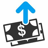 Spend Money vector icon. Style is bicolor flat symbol, blue and gray colors, rounded angles, white background. poster