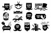 Set of Barber shop logos and designs. Blank form for the hairdresser: scissors, straight razors, silhouette men, beard, mustache, barbershop tools. Vector linear Monochrome style. poster