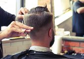 back view of man in barber shop. barber cutting hair with scissors poster