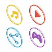 Isometric music icon. Isometric play icon. Isometric share icon. Isometric joystick icon. Vector illustration. poster