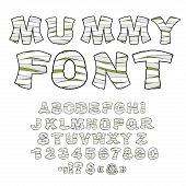 Mummy font. Alphabet in bandages. Monster zombie Letters of Latin alphabet. Learned embalming letters. Ancient Egyptian Type letters numbers and punctuation marks. poster