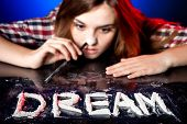 Woman snorting cocaine or amphetamines symbol of dream poster