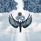 Business angel investor concept and entrepreneur venture capitalist symbol as a businessman with wings flying upward with gears to help build a corporation icon made of machine cog wheels. poster