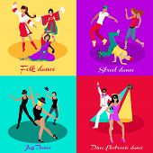 Set street folk dance jazz disco. Dancing music, event party, people boy and girl, art show performance, sound lifestyle, musical nightlife illustration in flat design poster