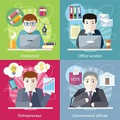 Set of concept work employed freelancer. Government official, office worker, employment and entrepreneur, business job, career and entrepreneurship, workspace in flat design poster