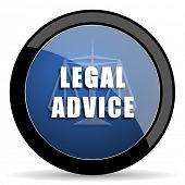 legal advice blue circle glossy web icon on white background, round button for internet and mobile app poster