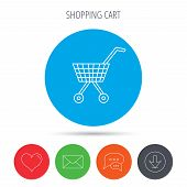 Shopping cart icon. Market buying sign. Mail, download and speech bubble buttons. Like symbol. Vector poster