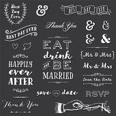 collection of chalk wedding typography messages and graphics poster