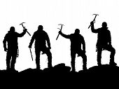 black silhouette of four climbers with ice axe in hand on the white background poster