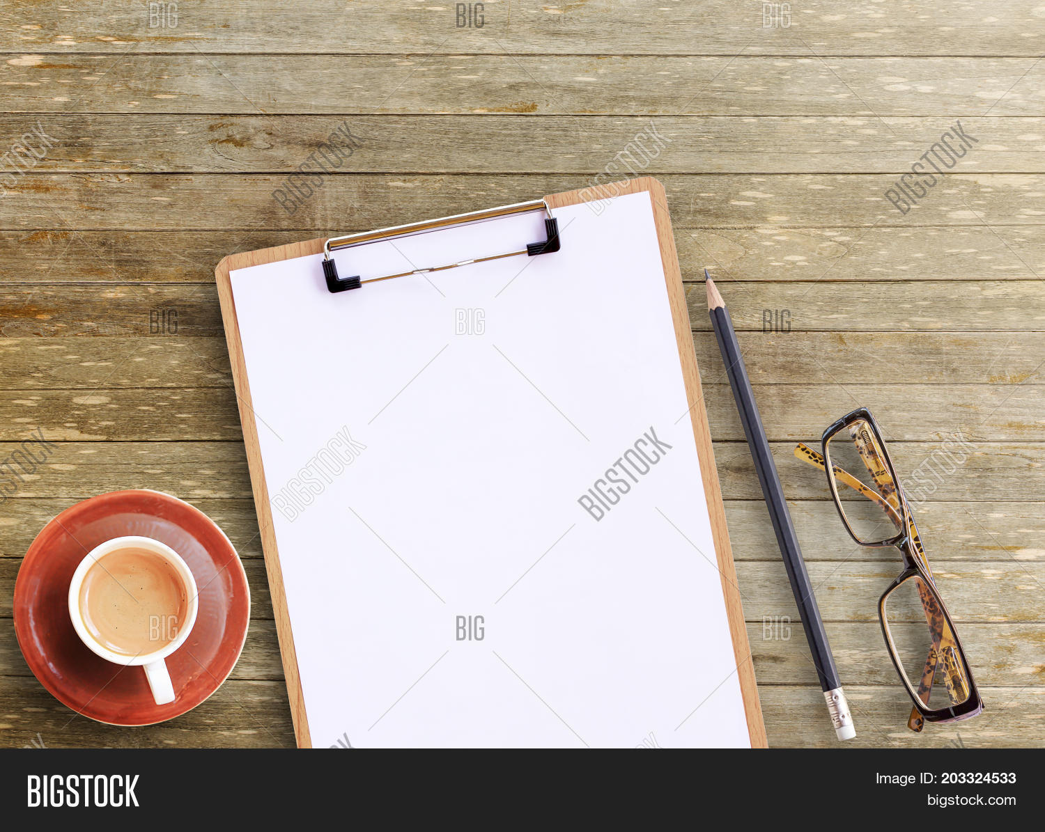 top office table cup. Office Desk - Top View Of Brown Wooden Table With Cup Coffeeglassespencil And Notepad