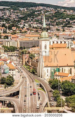 Saint Martin's cathedral in Bratislava Slovak republic. Architectural theme. Capital city. Cultural heritage. Travel destination. Yellow photo filter.