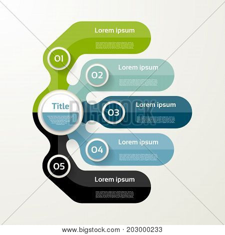 Five elements banner. 5 steps design chart infographic step by step number option layout.