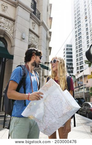 Couple traveling together wanderlust trip