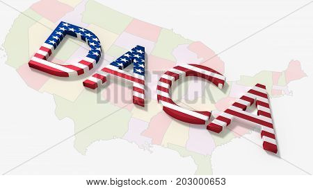 The word daca on an american map immigration concept 3D illustration
