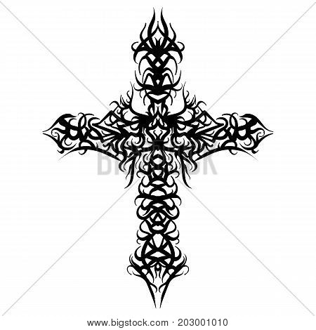 Beautiful ornate cross. Sketch tattoo stylized cross vector illustration