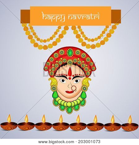 illustration of Hindu Goddess Durga face, lamps and decoration with Happy Navratri text on the occasion of hindu festival Navratri