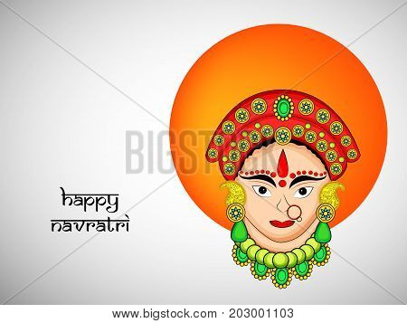 illustration of face of Hindu Goddess Durga with Happy Navratri text on the occasion of hindu festival Navratri