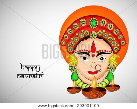 illustration of Hindu Goddess Durga face and lamps with Happy Navratri text on the occasion of hindu festival Navratri