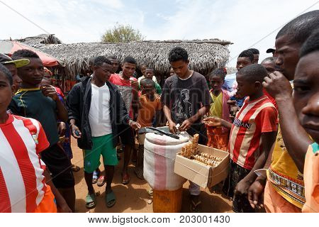 Man Sell Ice Cream On Rural Madagascar Marketplace