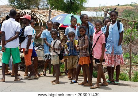 Malagasy Children On Rural Madagascar Marketplace