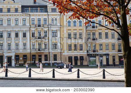 Kiev, Ukraine, August 27, 2017. Architecture of Sophia square