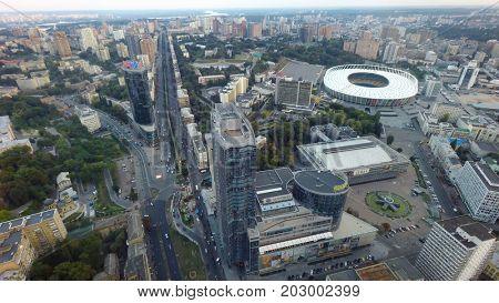 Kiev, Ukraine, August 27, 2017. Aerial view of Kiev at summer