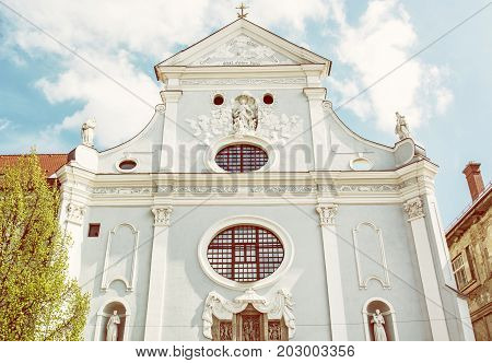 St. Anthony of Padua church Kosice Slovak republic. Religious architecture. Yellow photo filter.