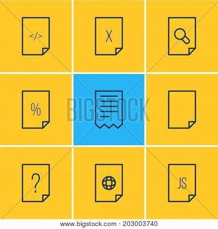Editable Pack Of Internet, Question, Script And Other Elements.  Vector Illustration Of 9 Document Icons.