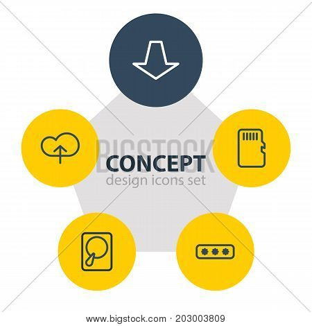 Editable Pack Of Upload, Downward, Parole And Other Elements.  Vector Illustration Of 5 Storage Icons.
