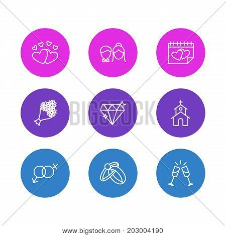 Editable Pack Of Love, Engagement, Sexuality Symbol And Other Elements.  Vector Illustration Of 9 Marriage Icons.