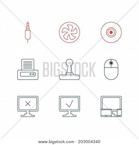 Editable Pack Of Objective, Access Denied, Input Jack And Other Elements.  Vector Illustration Of 9 Laptop Icons.