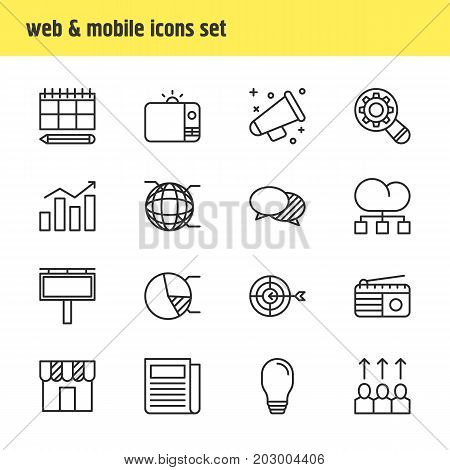 Editable Pack Of Shop, Daily Press, Television And Other Elements.  Vector Illustration Of 16 Advertising Icons.