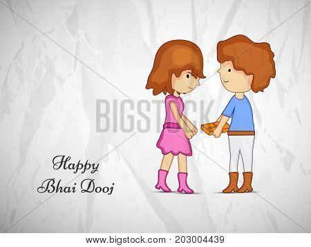 illustration of sister and brother with happy Bhai Dooj text on the occasion of Hindu festival Bhai Dooj celebrated in India