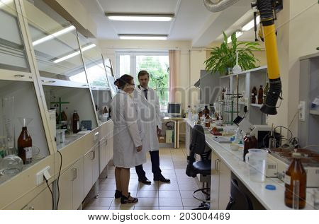 ST. PETERSBURG, RUSSIA - MAY 30, 2017: Staff working in the testing laboratory Petersburg Expertise. It is one of the leading laboratory of North West region of Russia